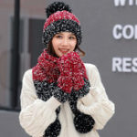 New Women Girls Christmas Knit Snow Hat Glove Scarf Three Pieces