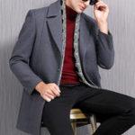 New Mens Mid Long Woolen Overcoat Slim Business Blazer Jacket