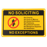 New 28x18cm No Soliciting No Exceptions Front Door Sign Security Warning Sticker Waterproof