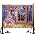 New 5x7FT Vinyl Christmas Tree Window Photography Backdrop Background Studio Prop