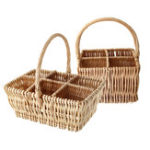 New 4/6 Bottles Wicker W ine Woven Compartment Carrier C hampagne Holder Storage Baskets