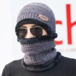 New Men Winter Windproof Knit Hat Brimless Beanie Cap Neck Scarf