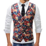 New Mens Chic Printing Slim Single Breasted Waistcoat Suit Vest