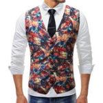 New Mens Chic Printing Slim Single Breasted Waistcoat Suit Vest