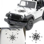 New 50x50cm Compass Pattern Car Hood Stickers Vinyl Decals Universal for Jeep for Wrangler Rubicon JK CJ