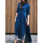 New Women Casual Long Sleeve Side Split Long Blouse Shirt