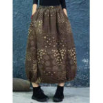 New Vintage Women Print Cotton Llinen Elastic Waist Skirts