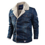 New Mens Winter Thick Fleece Chest Pockets Warm Denim Jacket