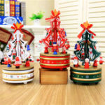 New 21*11cm Wooden Christmas Music Box Wind-up Toys Carousel Musical Box Gift Collection