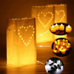 New Big Heart Pattern Tea Light Holder Paper Lantern Candle Bag for Christmas Party Wedding Decoration