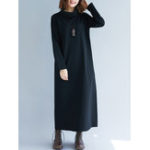 New Plus Size Casual Turtle Neck Long Sleeve Solid Color Dress
