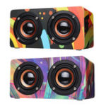 New D50 Wooden Colorful Digital Amplifier Bluetooth Wireless Speaker Ultra Bass Subwoofer Sound Headset
