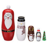 New Santa Claus Christmas Russian Stacking Wooden Nesting Doll Matryoshka Set 5 Pcs