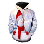 New Mens Christmas Long Sleeve Drawstring Hooded Sweatshirt