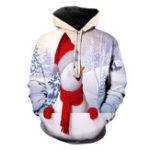 New Mens Christmas Long Sleeve Drawstring Hooded Sweatshirt