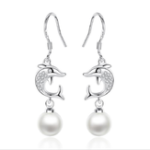 New Fashion Ear Drop S925 Silver Dolphin Earring Simple Tasse