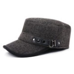 New Men Middle-aged Cotton Earmuffs Windproof Flat Top Hat