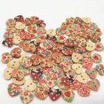 New 100 PCS Heart Shape Wooden Button Mixed 2 Hole Natural Sewing Children Handmade Clothes Buttons