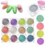 New 12 Colors Nail Glitter Powder 3D Nail Art Decoration