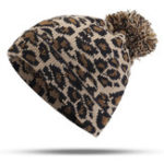 New Women Winter Leopard Print Pompoms Knitted Beanie Hat