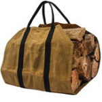 New khaki Firewood Carrier Log Carrier Wood Carrying Bag for Fireplace 16oz Waxed Canvas