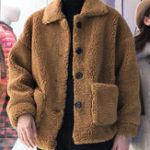 New Mens Teddy Woolen Solid Color Button Warm Thick Khaki Jacket
