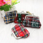 New Christmas Gift Plaid Mini Coin Purse Cotton Coin Bag