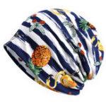 New Vintage Womens Cotton Stripe Print Dual-Use Beanie Hat