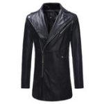 New Mens Mid Long Oblique Zipper Slim Fit Lapel Faux Leather Jac
