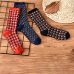 New Women Winter Plaid Thicken Cotton Middle Tube Pile Socks