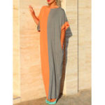 New Women Two-tone Patchwork Half Sleeve Kaftan Maxi Dress