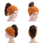 New Women Girls Hand-Made Crochet Headband Ponytail Hole Cap