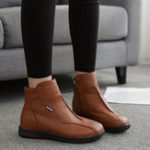 New Women Casual Comfy Soft Pure Color Zipper Ankle Boots