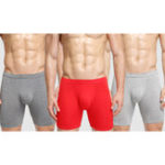 New Mens 3 Pieces Soild Color U Convex Pouch Boxer Briefs Underw