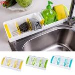 New Wall Mounted Kitchen Sink Storage Holder Container Sucker Adjustable Storage Basket Shelf Rack Bathroom Organizer Rack