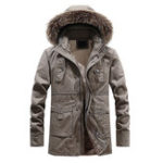 New Mens Winter Thickened Warm Detachable Hooded Outdoor Jacket