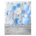 New 3x5FT 5x7FT Vinyl Blue Balloon Wood Floor Photography Backdrop Background Studio Prop