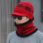 New Unisex Men Winter Windproof Knit Plus Velvet Hat Scarf Set