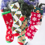 New Ladies Chiristmas Pattern Jacquard Cotton Middle Tube Socks