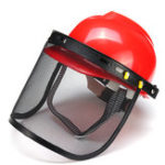 New Red Safety Helmet Full Face Mask Chainsaw Brushcutte Mesh For Lawn Mower Trimmer Brush Cutter