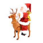 New Christmas Gift Electric Santa Claus Ride a Deer Music Box Player Decoration  Toys