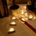 New 10 LED Battery Wooden Heart Shape String Lights For Christmas Decoration White Christmas Light