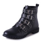 New Big Size Women Rivet Buckle Ankle Zipper Boots