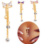 New Elegant Bowknot Belly Ring Tassel Rhinestone Navel Belly