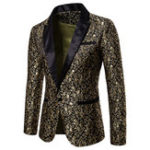 New Mens Jacquard Printing Chic Dress Suit Jacket Stage Blazers