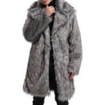 New Mens Faux Fur Coat Mid Long Winter Warm Furry Outdoor Parka