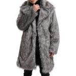 New Mens Faux Fur Coat Mid Long Winter Warm Furry Outdoor Parka