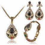 New Vintage Water Drop Jewelry Set Hollow Rhinestone Bracelet