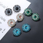 New Luxury Crystal Rhinestone Stud Earrings Bohemian Flower