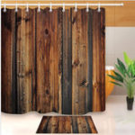 New Waterproof Rustic Wood Liner Bathroom Mat Shower Curtain With 12 Hooks Accessories